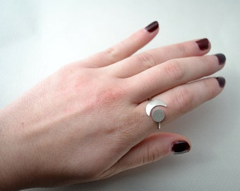 moon phases ring /half moon sterling silver ring/adjustable silver moon ring