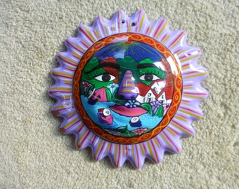 Ceramic hand painted scenic sun, wall hanging made in Mexico.