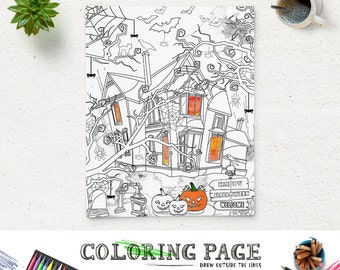Halloween Coloring Etsy - halloween coloring pages printables adults