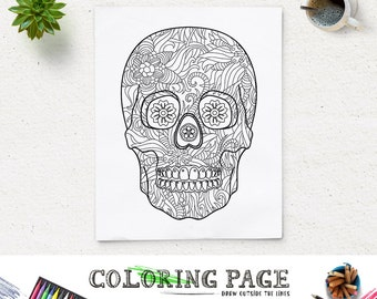 Halloween Party Coloring Page Printable Floral Skull Pages Instant Download Digital Art Holiday