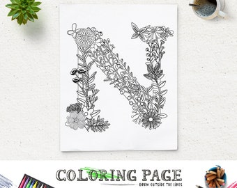 instant download printable coloring page floral alphabet letter n digital art printable art zen coloring pages