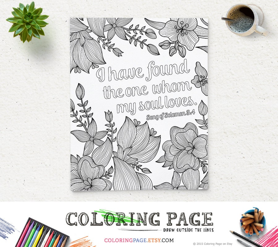 Coloring Page Printable Bible Verse Song of Solomon 3 4