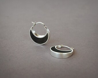 Small Hoop Earrings Wood Earrings Ebony and Silver Hoop Earrings Dainty,Moon Earrings Black and silver Half Moon Hoop Earrings Silver,Classy