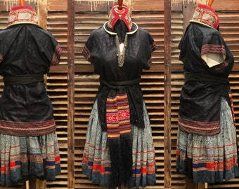 Hmong Outfit Hill Tribe Vintage Old Jacket Skirt Belt Torc Necklace Museum Quality