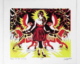 Unicorn Dance—contemporary female fashion linocut print, graphic pop art unicorn bird printmaking, figurative woman portrait