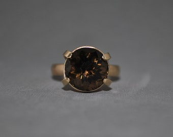 Smoky quartz gold engagment ring or statement ring - free shipping