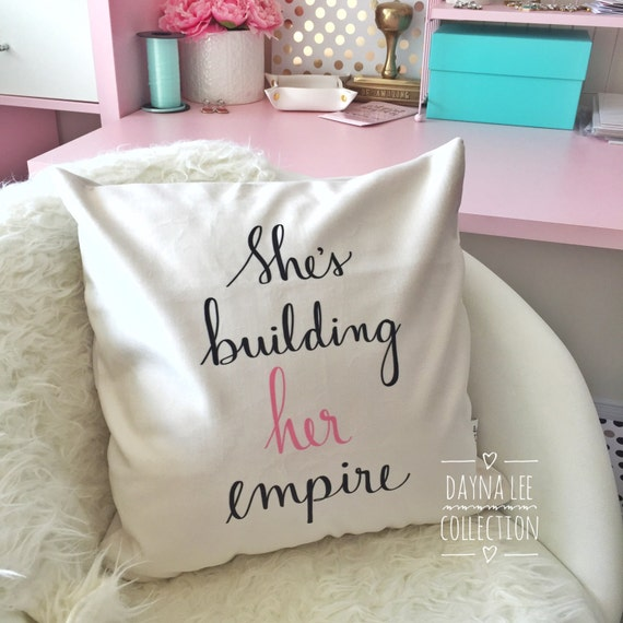 "THE ORIGINAL She's Building Her Empire - 18"" Handwritten Quote Velveteen Pillow Cover"
