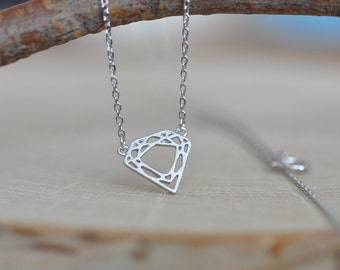 Sterling Silver Diamond Shape Pendant / Geometric Necklace / Diamond Charm / 925 Sterling Silver Jewelry / Minimalist Necklace / Jamberjewel