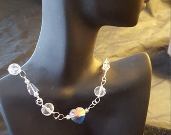 """Wedding, Heart pendant, hangs 20-22"""": clear and opaque glass beaded necklace.  \20"""