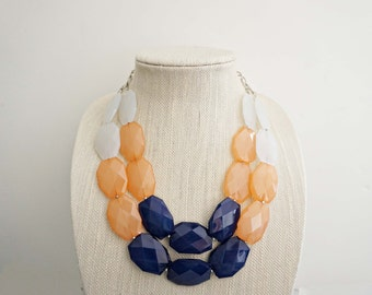 Blue, Peach, and White Nautical Faceted Acrylic Gem Statement Necklace