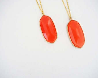 Coral and Gold Pendant Necklace