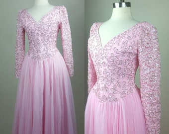 60s Designer Formal Gown Pink with Rhinestones