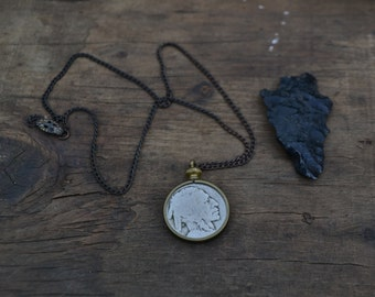 coin necklace, simple vintage coin necklace, buffalo coin necklace, buffalo nickel necklace, buffalo nickel jewelry, old coin necklace, boho