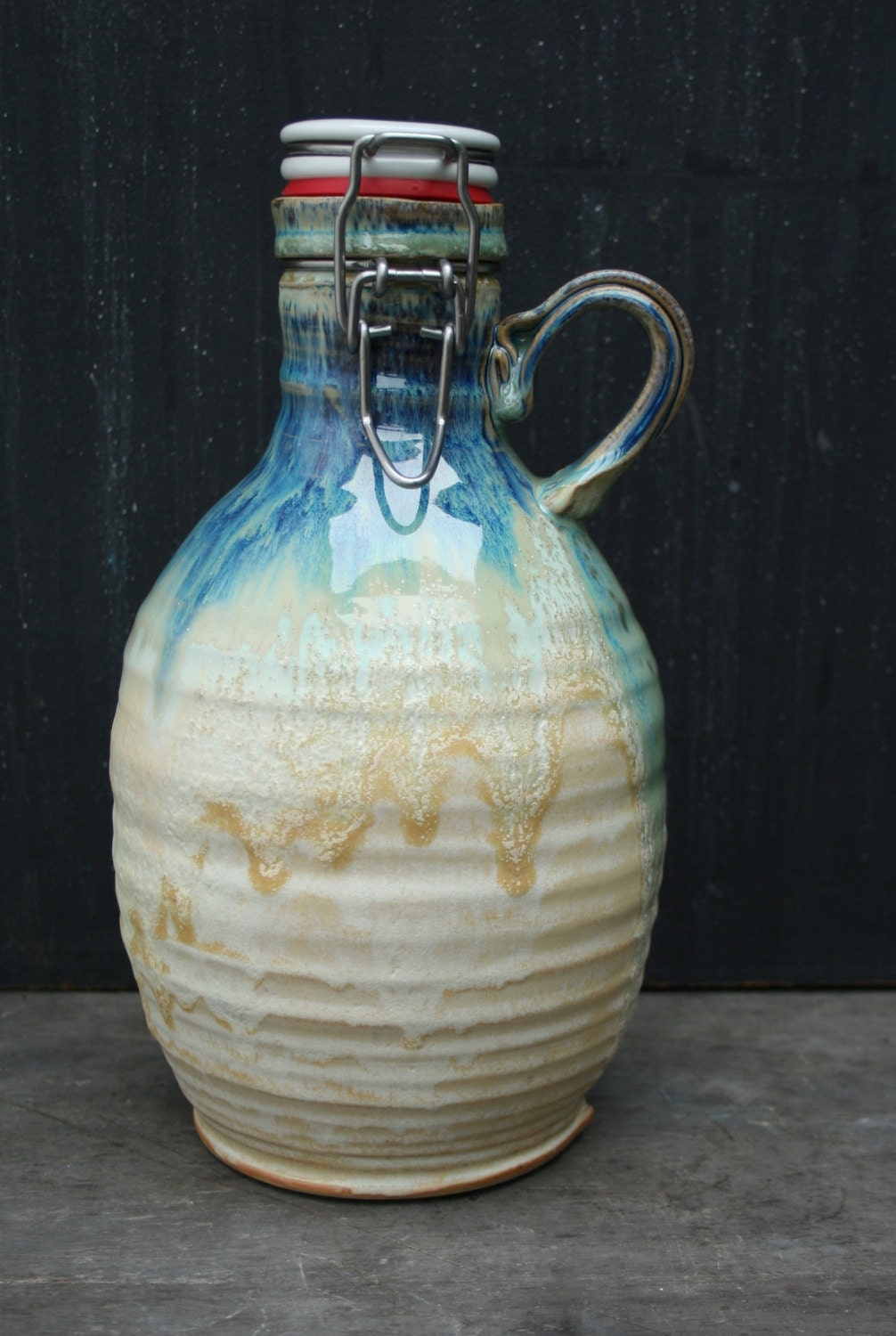 Ceramic Beer Growler Hand Thrown 64 Oz Pottery Growler Great