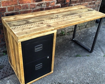 Chic Reclaimed Wood Office Desk l shaped desk reclaimed wood desk wood and steel desk industrial desk Industrial Chic Reclaimed Custom Office Desk With Drawers Filing Cabinet Bar Cafe Restaurant Tables