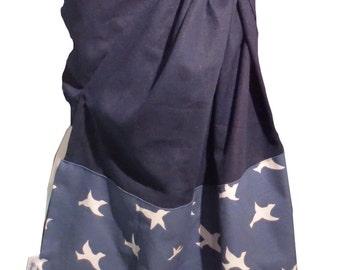 Ring sling blossom, Linen Navy and Birds, Baby sling, Baby carrier, Baby wrap, Ring sling in linen,