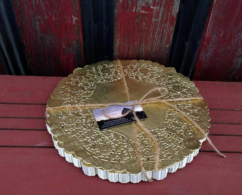 25 12 Gold Doily Wedding Charger Metalic Lace