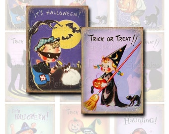 Halloween Digital Collage Sheet, Cute Retro Halloween Children, ATC sized Printable Art Gift Tags, Instant Download Clip Art Trick or Treat