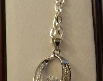 925 Sterling Silver Astrian Crystal Oval Necklace   V9