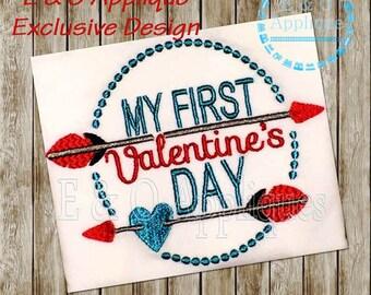 My First Valentine's Day Embroidery Design - Valentine Embroidery Design - 1st Valentine's Embroidery - 1st Valentine's Applique
