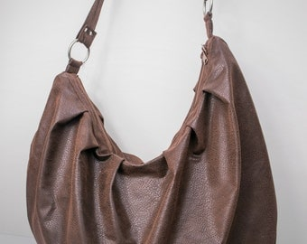 Sale! Slouchy Hobo Bag in Chocolate Brown Suede