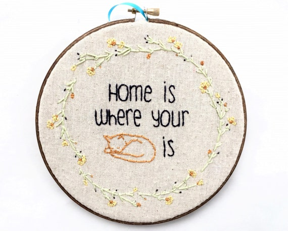 Cat Embroidery, Home is where your cat is, 7in