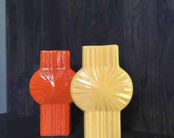 California Pottery Starburst Bud Vase Orange + Yellow Mid-Century
