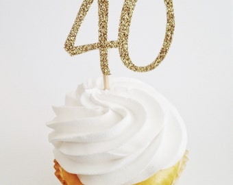 40 Cupcake Topper - 40th Birthday Decor - Glitter Gold Toppers - Gold Cupcake Picks - 40th Birthday Ideas - Forty Cupcake Topper