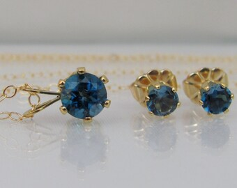 London Blue Topaz Jewelry Set, 14K Gold Filled, London Topaz Necklace and Earring Set, Topaz Gemstone, December Birthstone, Post Earring