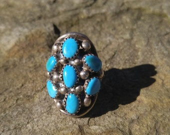 Vintage Silver ring for Mom Turquoise jewelry Native American Turquoise ring Gift for Wife blue jewelry Sleeping Beauty Benson Boyd Navajo