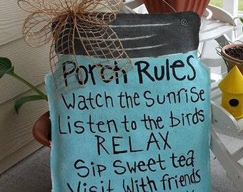 Porch Rules Door Hanger