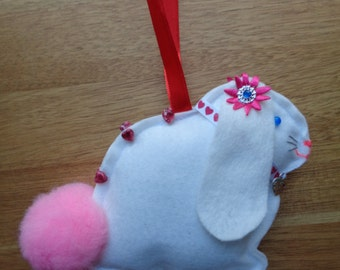 Hand made white felt Lop eared Bunny Rabbit hanging decoration
