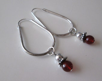 Garnet Sterling silver Vintage Bead Dangle earrings