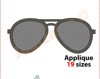 Sunglasses Applique Design. Sunglasses embroidery design. Aviator glasses embroidery. Aviator glasses applique. Machine embroidery design.