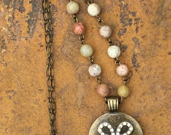 Brass and Flower Necklace
