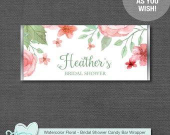 Watercolor Floral Bridal Shower Chocolate Bar Wrapper Personalized, Pink and Green, Printable, Hersheys Wrapper, Candy Wrapper, Flowers,005A