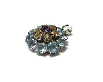 SALE - Blue Topaz, Amethyst and Citrine Pendant - Sterling Silver Pendant - Handmade Pendant, Gemstone Pendant - Artisan Pendant