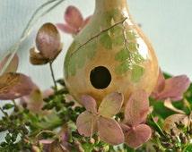 Woodland Fairy Nest - Miniature Gourd Birdhouse - Spinner Gourd Craft - Original Folk Art