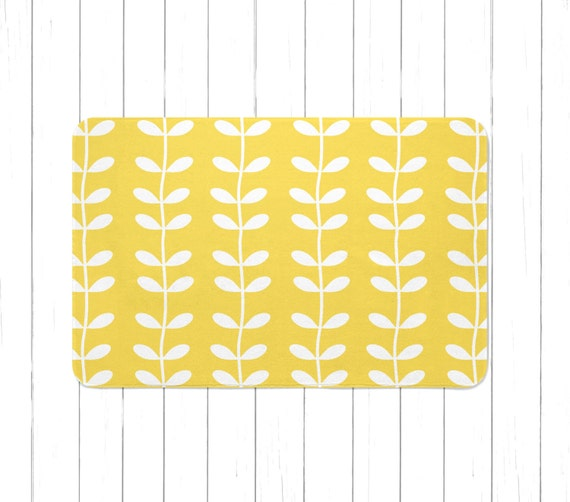 Mustard Yellow And White Vines Area Rug Or Bath Mat