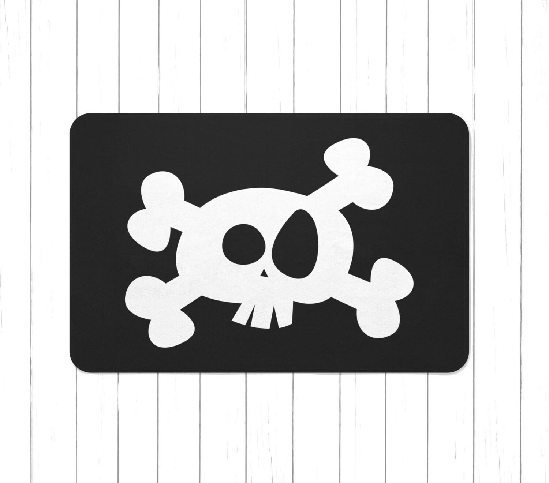 Black Pirate Skull N Crossbones Area Rug Or Bath Mat