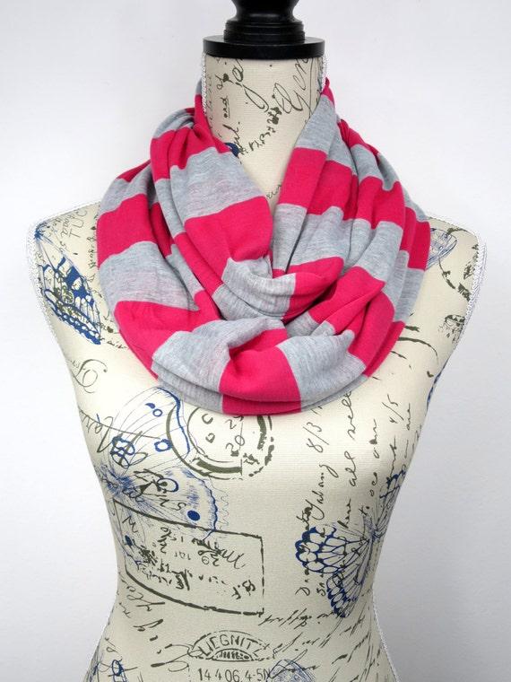 Stripes Loop Scarf - Pink Loop Scarf - Gray Tube Scarf - Women Infinity Scarf - Printed Circle Scarf - Unique Circle Scarf - Birthday Gift