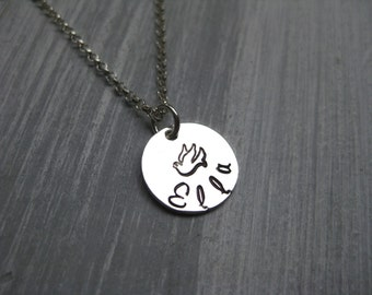 925 Sterling Silver Dove Necklace Personalized Jewelry Confirmation Gift Baptism Gift Hand Stamped Religious Jewelry Catholic Jewelry