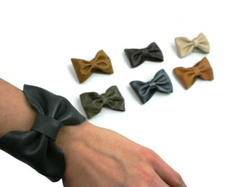 Genuine Leather Bow Cuff - Italian leather bow bracelet in gray, black, camel, brown, cream, gray