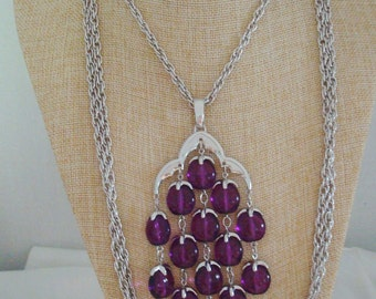 Trifari Waterfall Purple Lucite Drop Silvertone Triple Chain Pendant Statement Necklace Book Piece