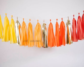 Yellow Ombre Sparkle Tassel Garland, Yellow Ombre Gold Garland, Yellow Ombre Garland, Yellow Ombre Baby Shower, Yellow Ombre Wedding Decor