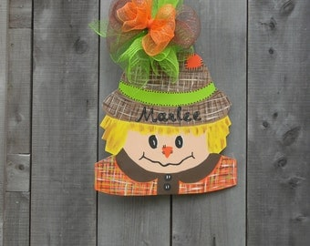 halloween scarecrow door hanger -  fall scarecrow door hangers -  fall decoration - fall decor -  halloween - birthday