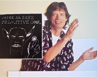 ROLLING STONES * Promo Stand-Up * Mick Jagger * Primitive Cool * 1987 * Vintage Original * Cardboard Countertop Stand-Up * 14x21 * Rare