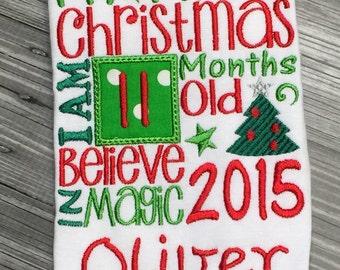 My 1st Christmas Onesie or Shirt! Christmas 2016 milestone, First Christmas Outfit, Babys First Christmas