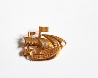 Vintage Anstecker Pin Segelschiff Schmuck Sailor Matrose Brosche Kupfer Metall Alu Kogge Seemann
