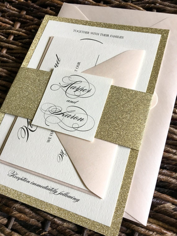 gold glitter wedding invitation with glitter belly band gold